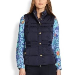 Lilly Pulitzer XS Navy Blue Kate Puffer Vest
